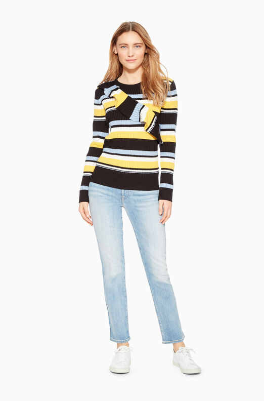 Montego Stripe Ruffle Sweater