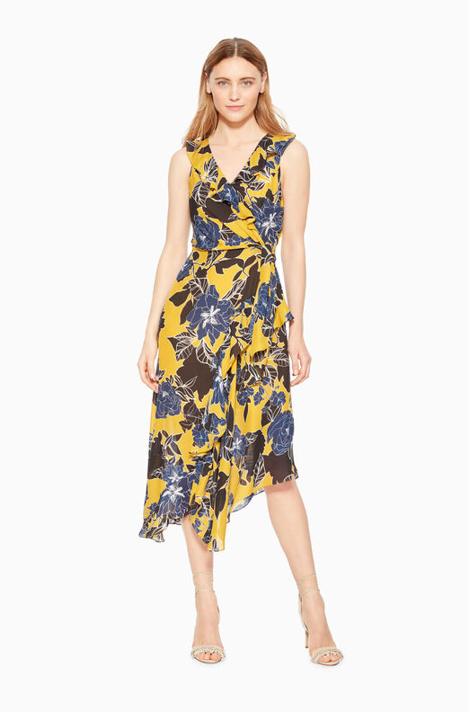 Loreena Wrap Front Midi Dress