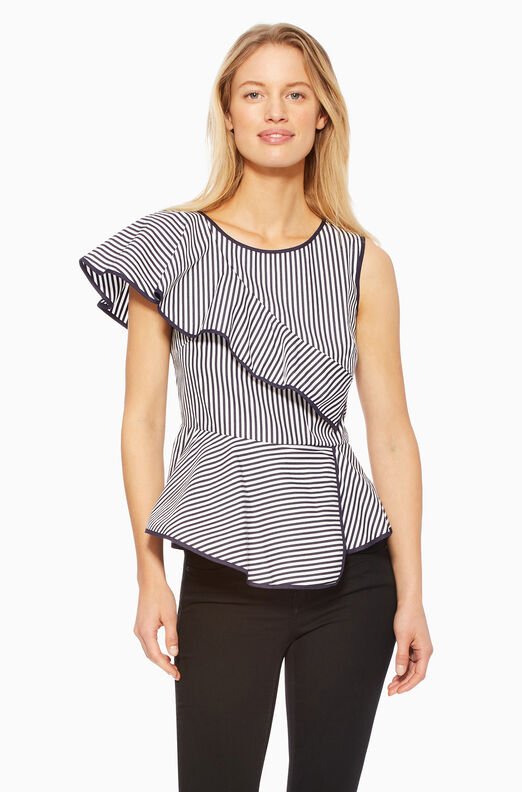 Carly Top - Navy/White
