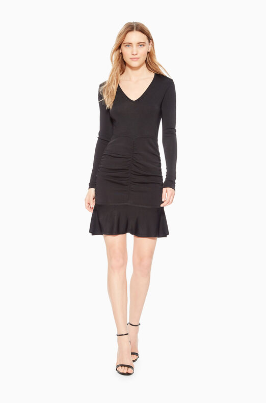 Carla V-Neck Ruched Knit Dress