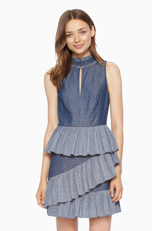 Cecil Dress - Chambray Dot