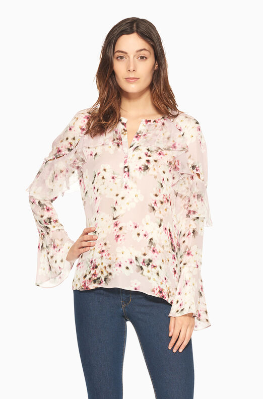 Dixie Combo Blouse - Blush Shadow