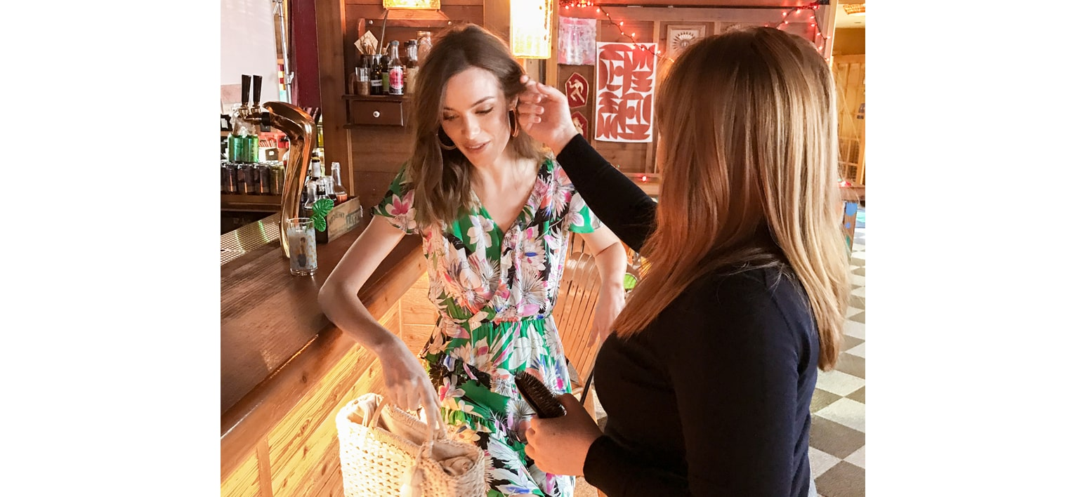 Model being styled by Maggie Connolly
