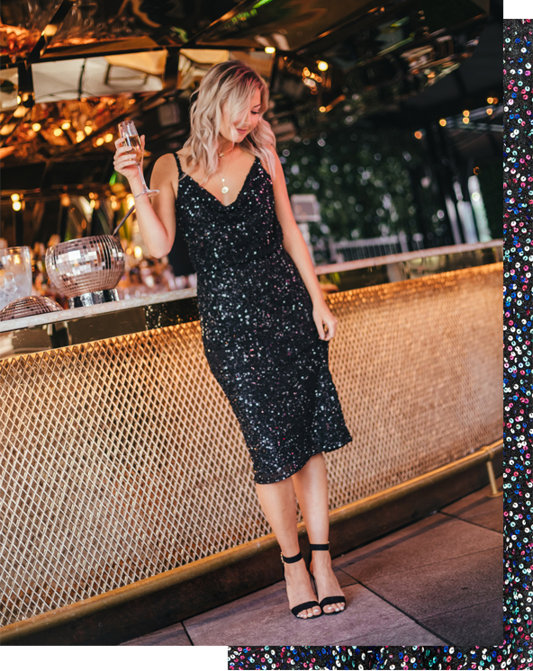 Laurie in black sparkle dress