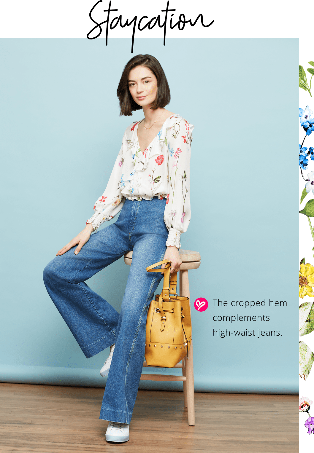 Model in Quincy Floral Blouse and jeans