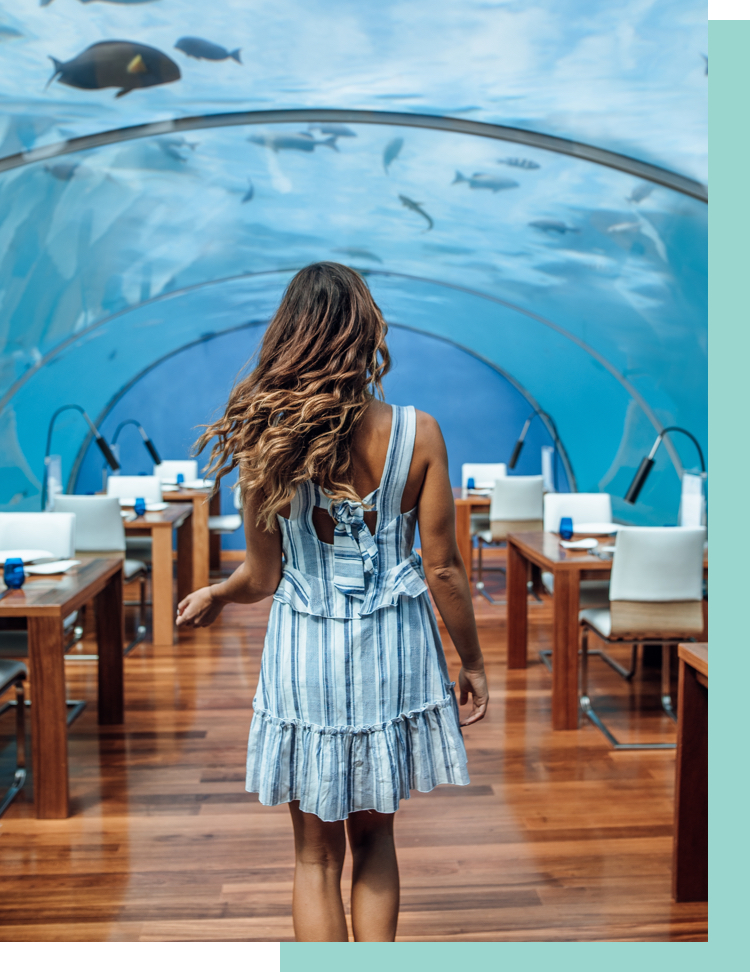 Lisa Homsy in underwater restaurant